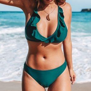 Cupshe Teal Ruffled Bikini